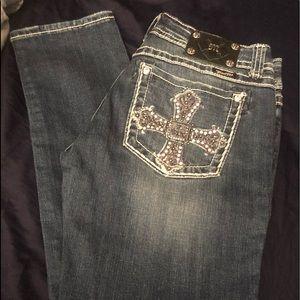 "New Miss Me ""Cross"" Rhinestones Skinny Jeans 31"
